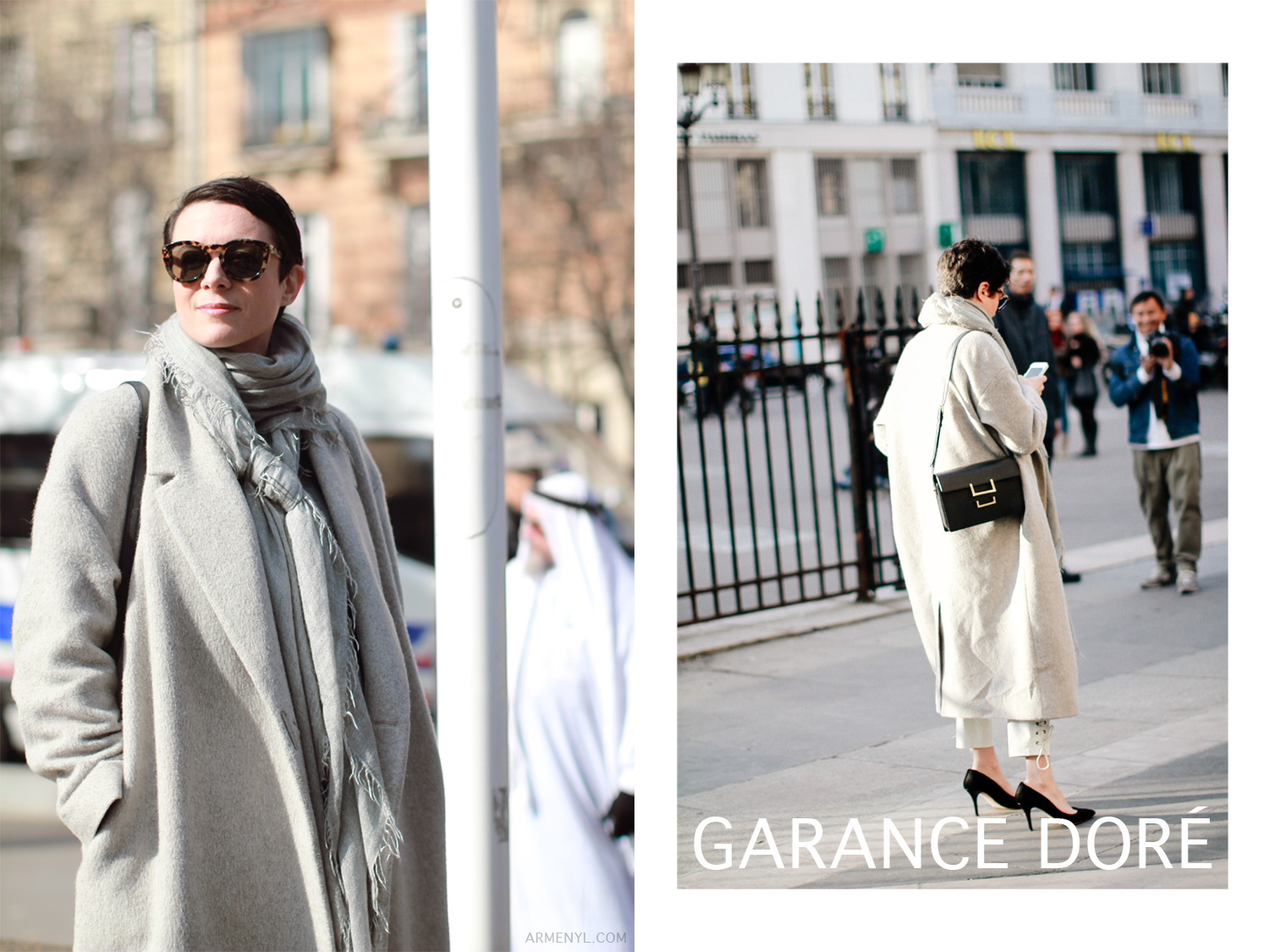 Fashion Blogger Garance Dore in Paris photographed by Armenyl Street style gray coats