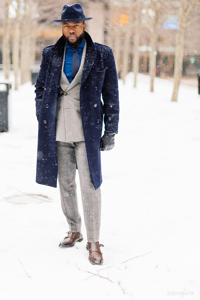 Grey and Blue suits Men's Street style at New York Fashion Week 2015 by Armenyl.com