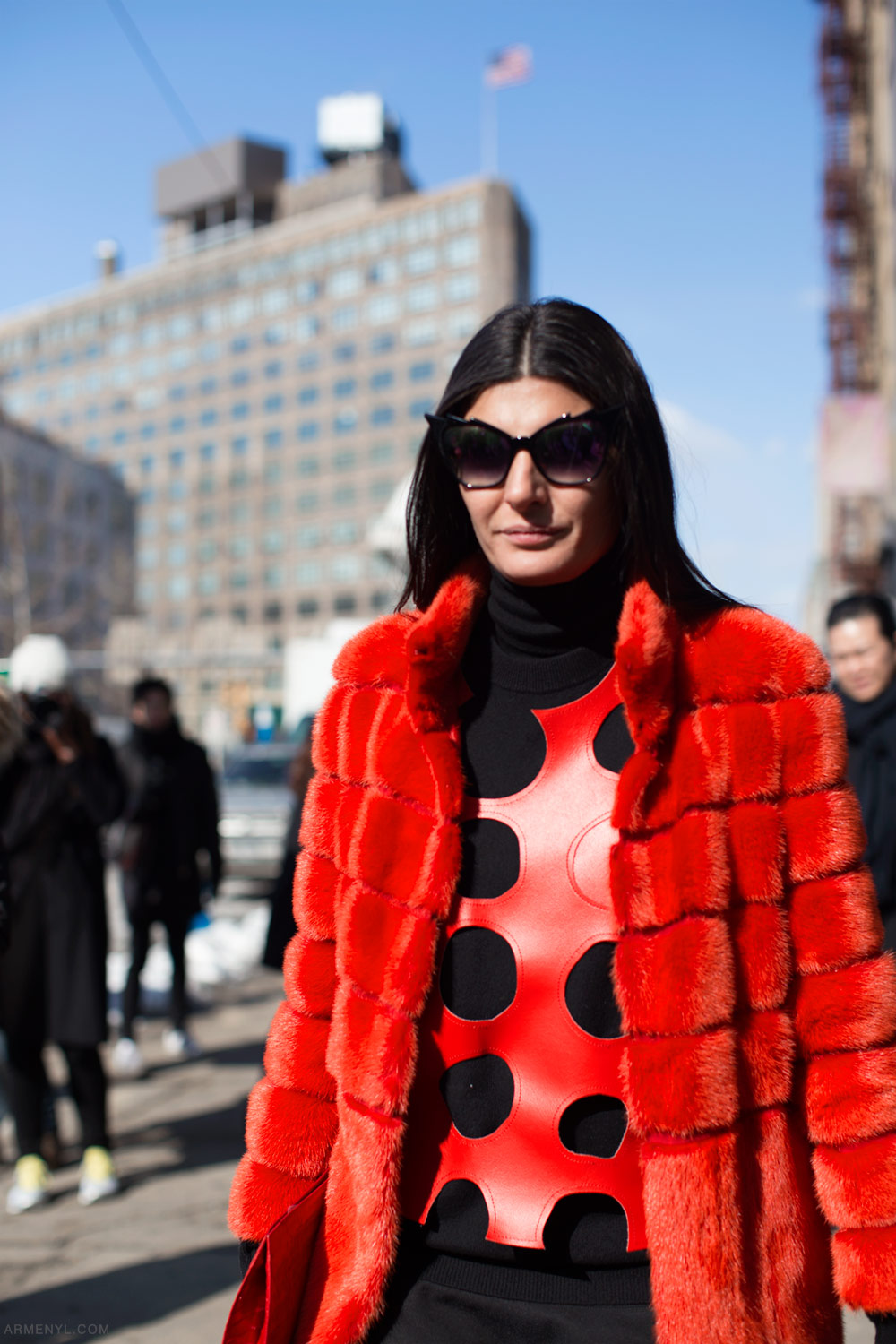 Giovanna (bat gio) in Lady bug red at New York Fashion photographed by Armenyl.com