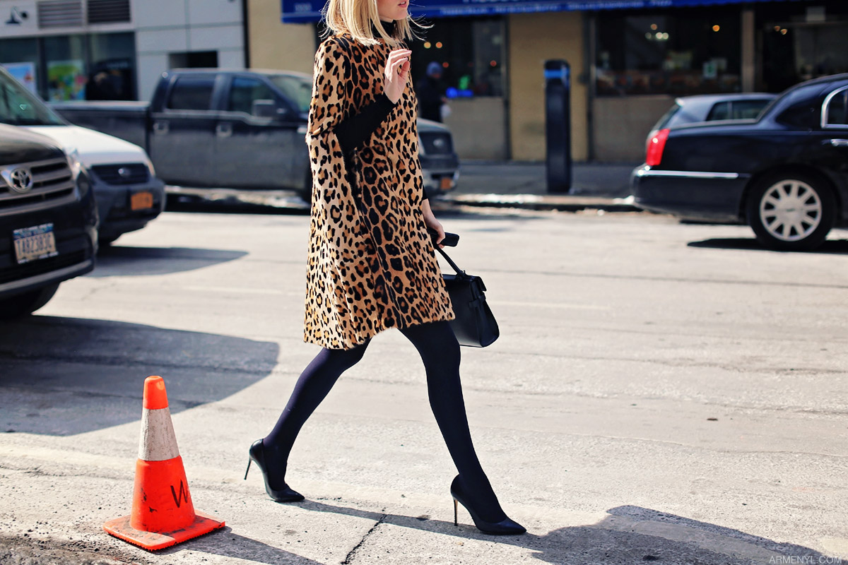Street style leopard prints and tights, new york fashion week 2015, photo by Armenyl.com