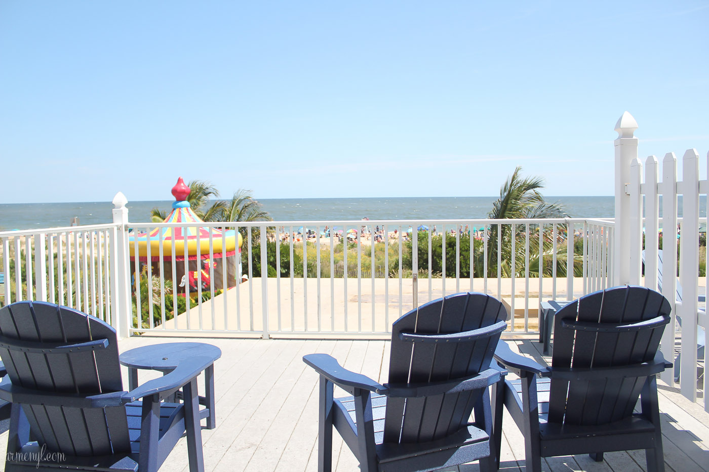 Beach Front View in Ocean City, beach chairs, carousel hotel by photograher Armenyl, armenyl.com