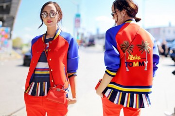 Chriselle Lim of the Christelle Factor in Full Tommy Hilfiger look and Tommy Hilfiger bomber jacket at Tommy Hilfiger Fashion Show in New York on September 2015
