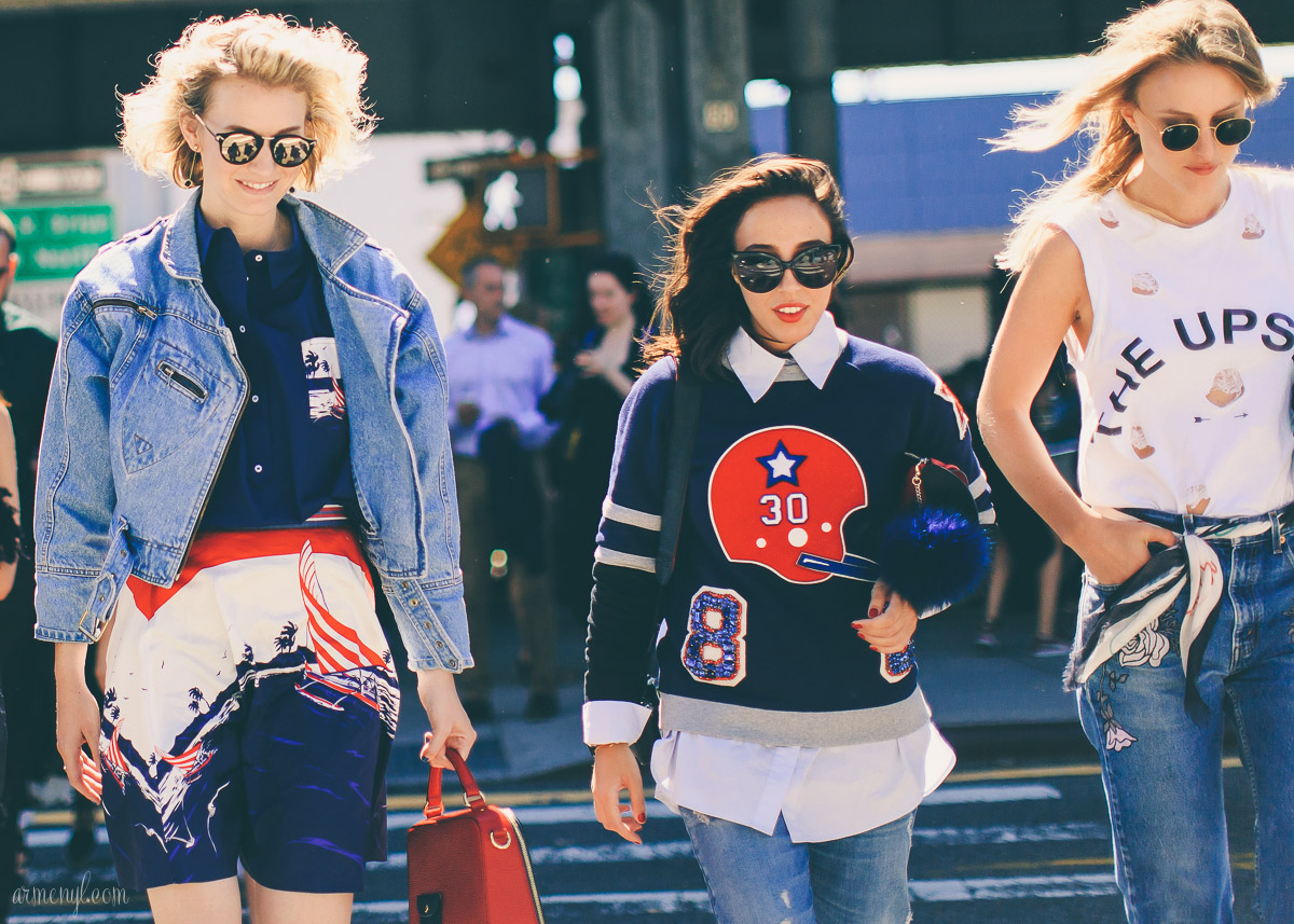 Street Style outside Tommy Hilfiger