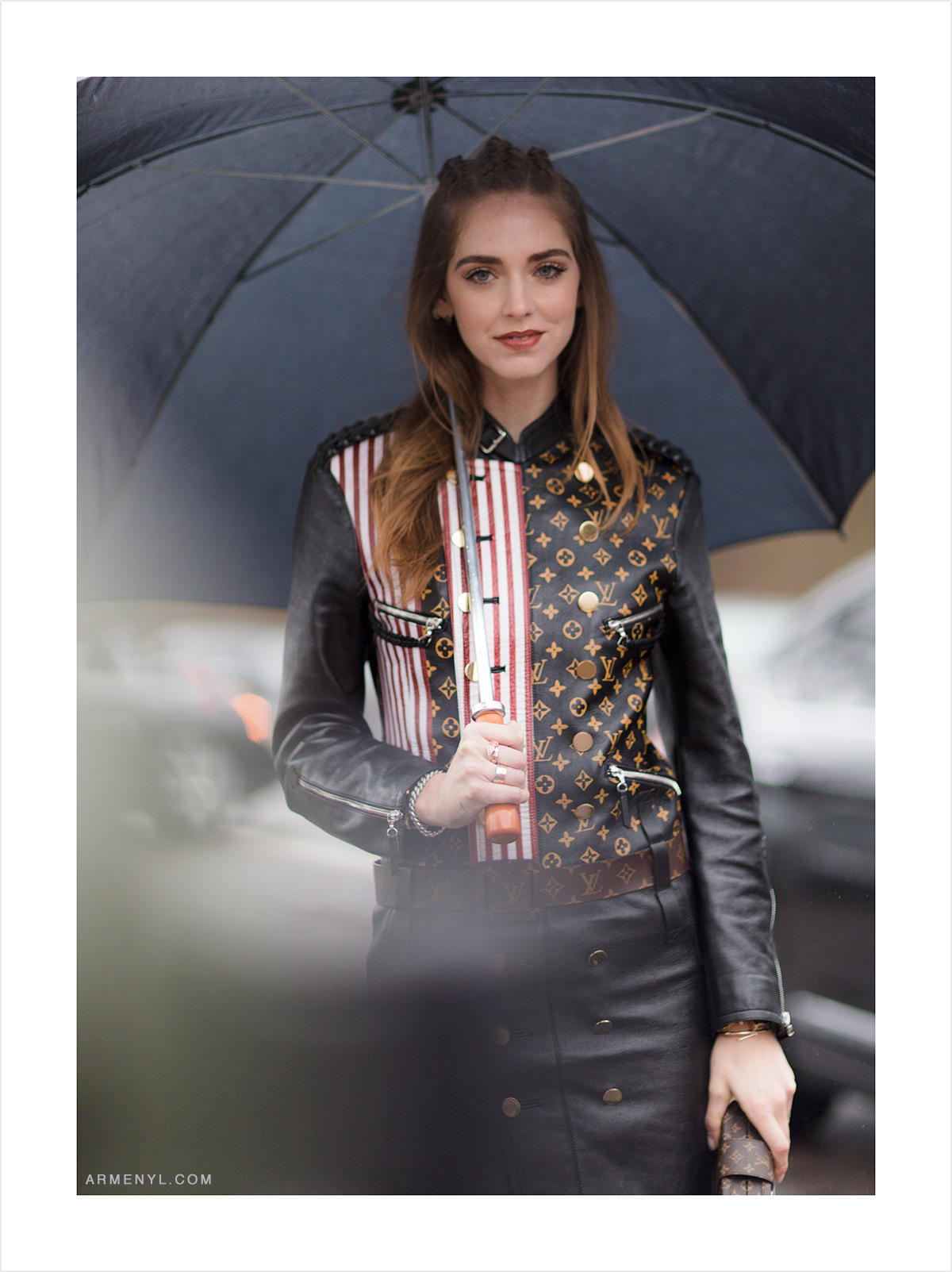 Chiara Ferragni at Louis Vuitton in the rain Street style at Louis Vuitton FW 16 show in Paris on March 9th photographed by Armenyl.com