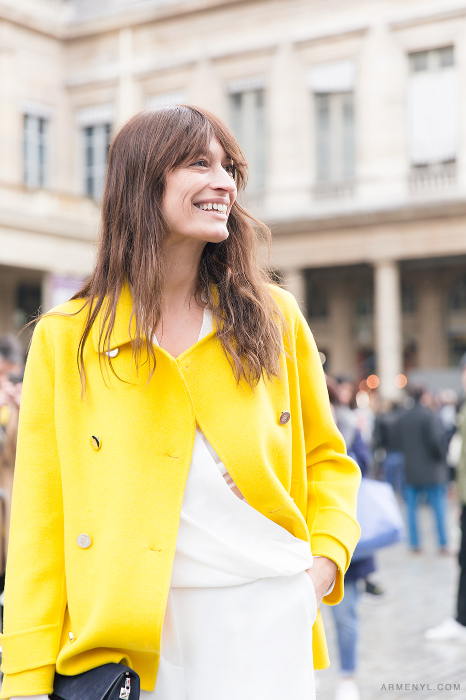 Caroline de Maigret in Paris after Isabel Marant show wearing Yellow coat photographed by Armenyl.com