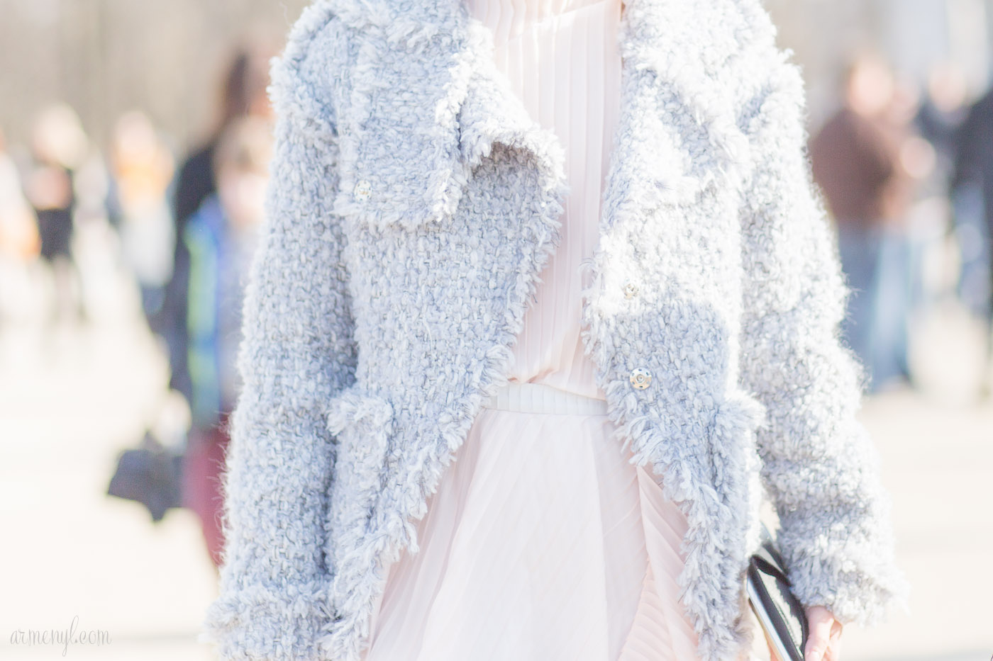 Soft tones, Pink and grey, pastel colors coats winter fashion at Paris Fashion Week Elie Saab AW 16 photographed by Armenyl.com