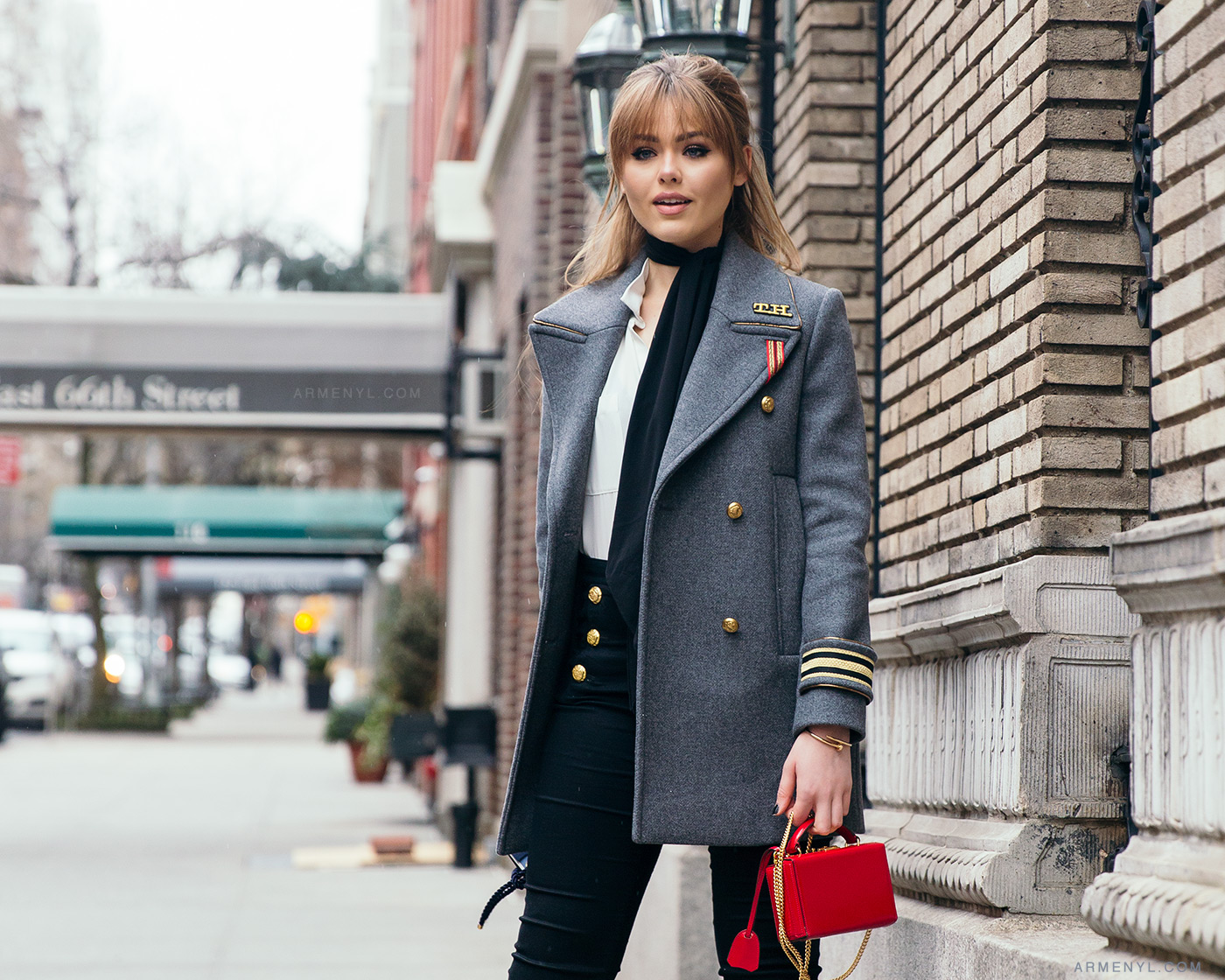 Street style Kristina Bazan at New York Fashion Week in Grey Tommy Hilfiger Blazer at Tommy Hilfiger FW 16 show in New York City photographed by Armenyl.com