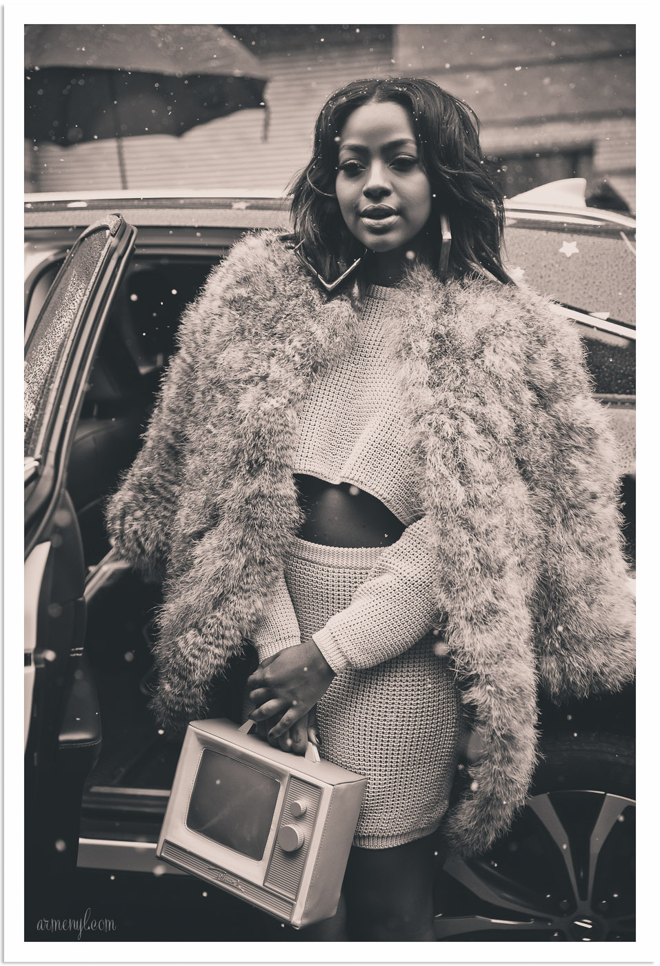 Roc Nation singer Justine Skye at New York Fashion Week after Jeremy Scott show photographed by Armenyl.com