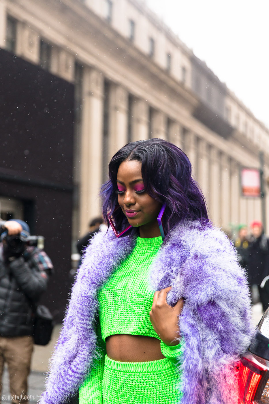 Justine Skye Make up and purple hair photographed in New York City by Armenyl.com