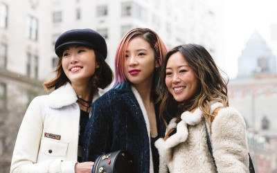 Chriselle Lim, Irene Kim and Aimee Song together outside Tommy Hilfiger f/w 16 show in NYC