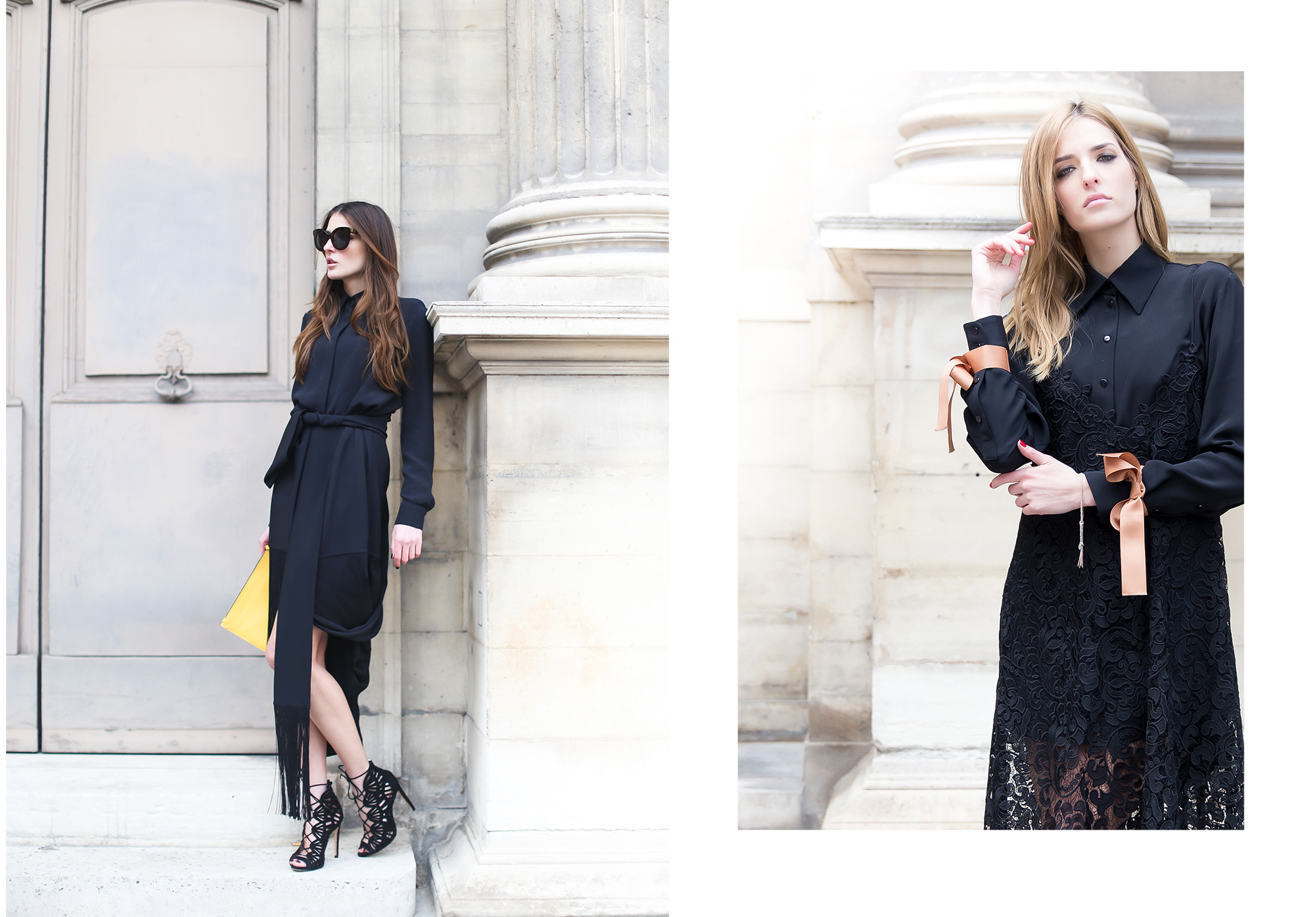 Bloggers Desiree and Jennifer Selmanovic of Des & Jen photographed at Cour Carée in Paris by Armenyl.com