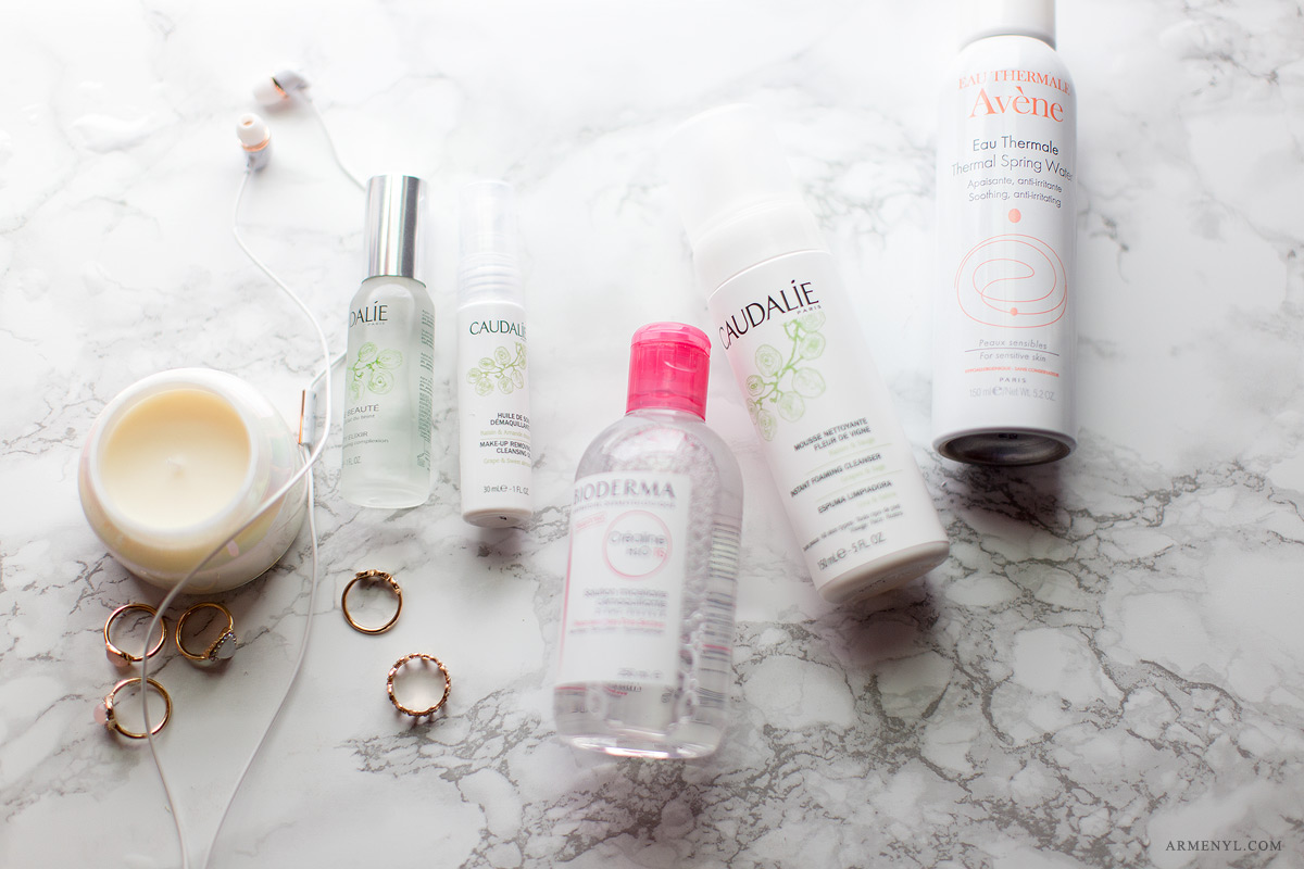 Best French beauty essentials, Caudalie Make up cleansing oil, Caudalie beauty Elixir, Bioderma Micellar water, Eau Thermale Avene
