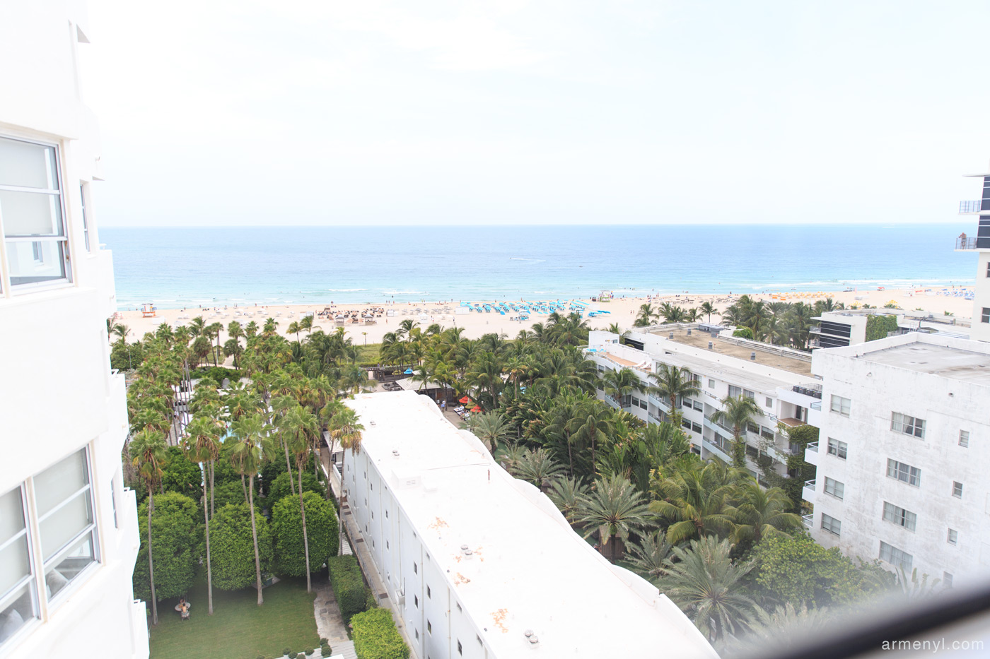 View of Miami south Beach from Delano Hotel in Miami photographed by Travel Blogger Armenyl.com