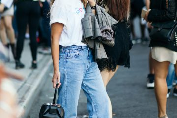Miroslava Duma Simple street style look at New York Fashion Week street style photograph by Armenyl photography