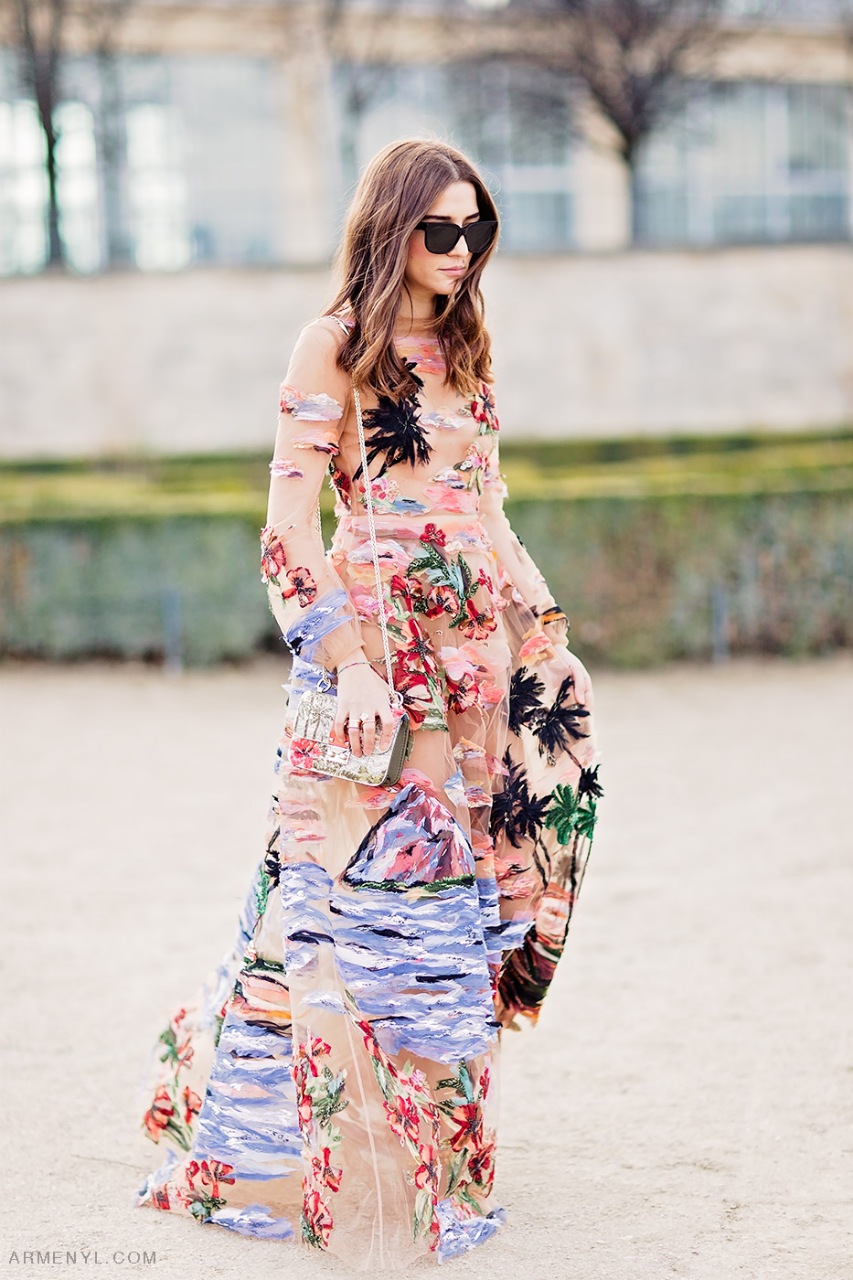 Street Style Eleonora Carisi in Valentino Hawaiian Couture Dress at Paris Fashion Week Jardin des Tuileries by Armenyl.com