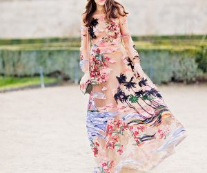 Street Style Eleonora Carisi in Maison Valentino Couture Dress at Paris Fashion Week Jardin des Tuileries by Armenyl.com