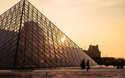 The Louvre in Paris France at sunset travel photography by Armenyl.com