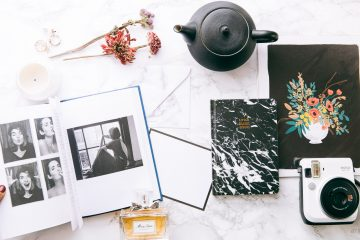 How to be Parisian whenever you are book, Paper Bunny little black book; Rifle Paper Print, Polaroid, Teavana, Ms Doir Blooming perfume photo credit Armenyl.com