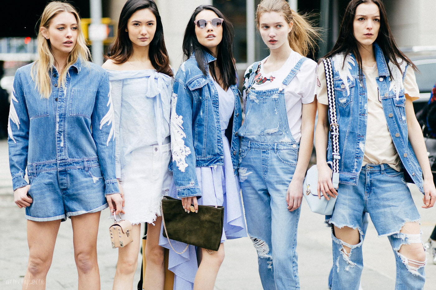 50 shades of denim - Girls in shades of denim outside the Proenza Schouler Fall 2017 show in New York, New York, February 2017 photographed by Armenyl.com