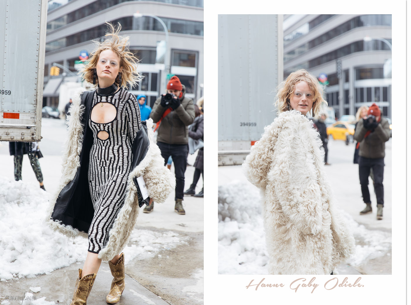 Fashion Model/ Activist Hanne Gaby Odiele in Proenza Schouler at the Proenza Schouler Fall 2017 show in New York, New York, February 2017 Street style Photographed by Armenyl.com