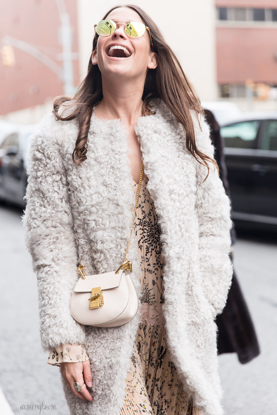 Amanda Alagem in Chloe Purse at NYFW featured in The best texture heavy looks at New York Fashion Week photographed by Armenyl.com