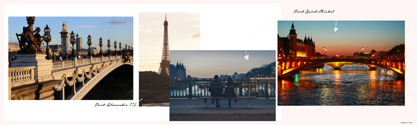 Best Places to take pictures in Paris featuring Pont Alexandre III and Pont Saint-Michel Instagram worthy shots by Armenyl.com