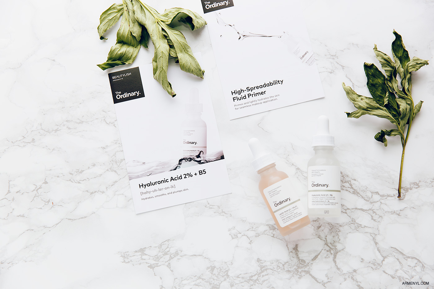 The Ordinary Skincare Beauty Product Review featuring Lactic Acid, High-spreadabilty primer, HYALURONIC ACID , photo & content creation by Armenyl