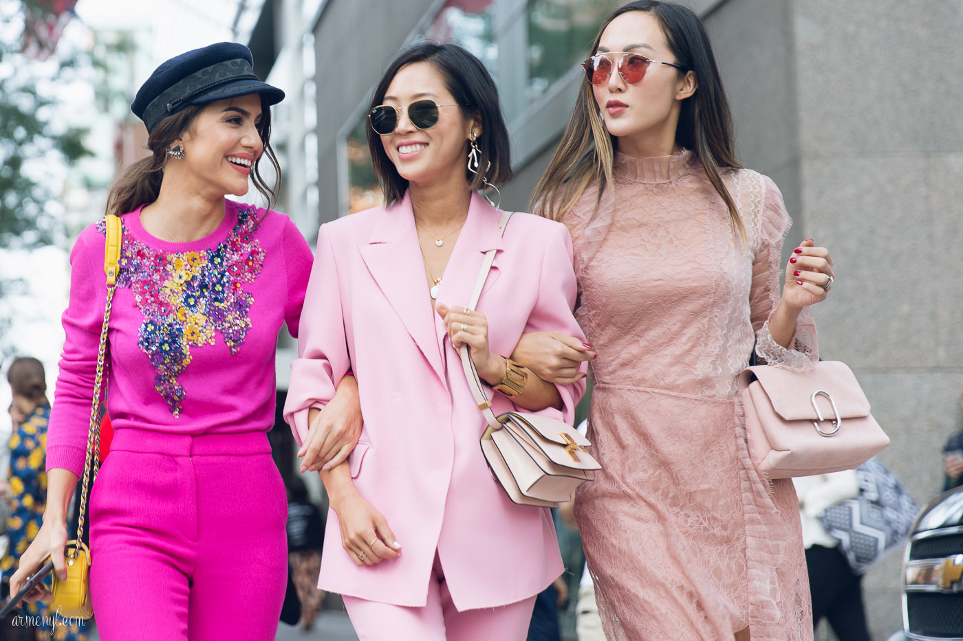 The best pink pantsuits street style looks at New York Fashion Week SS 2018 photo by street style photographer Armenyl