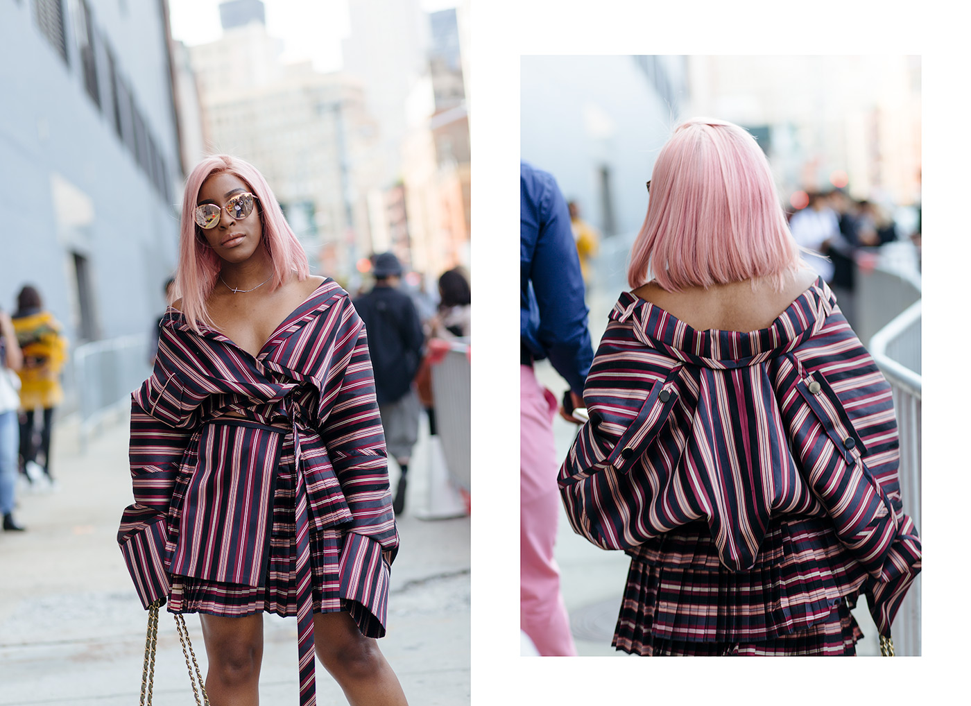 Jackie Aina Pink Hair Street style look at NYFW 2018 photo by Armenyl