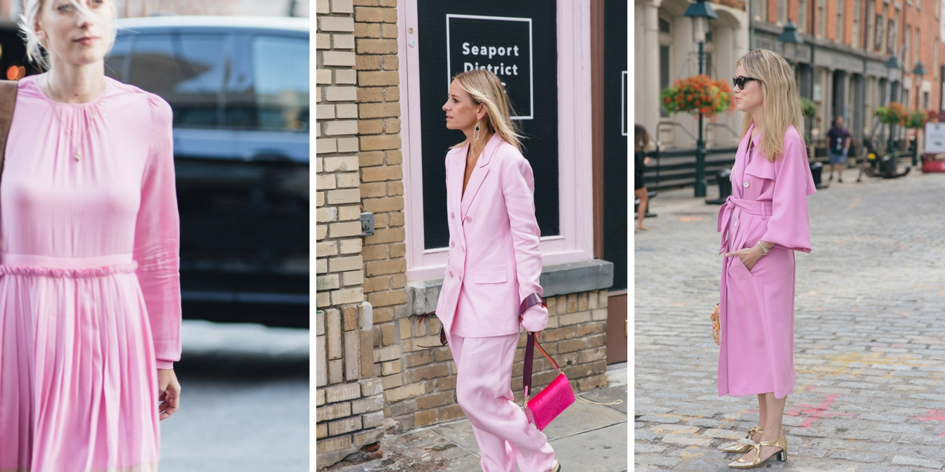 The best pink street style looks at New York Fashion Week SS 2018 photo by street style photographer Armenyl