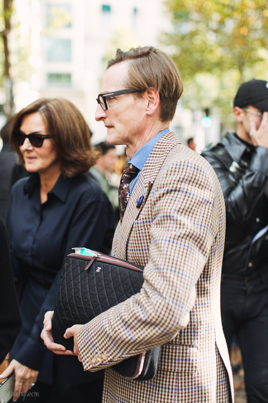 Street style favorite at Fashion Week Plaid photography Armenyl