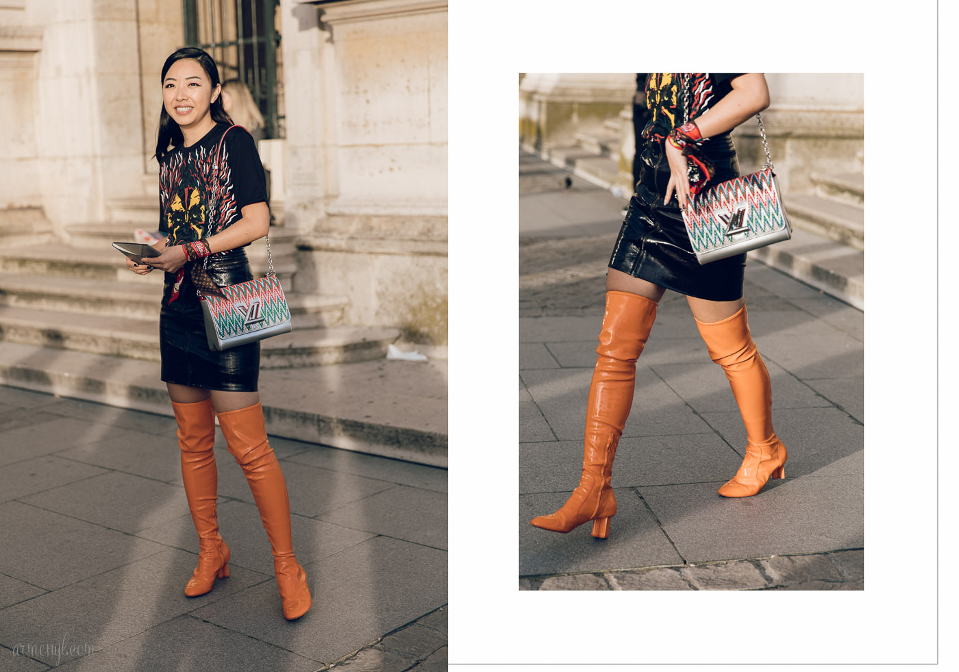 Street Style Fall Fashion Looks at Louis Vuitton SS 2018 Show in Paris photo by Fashion Photographer Armenyl