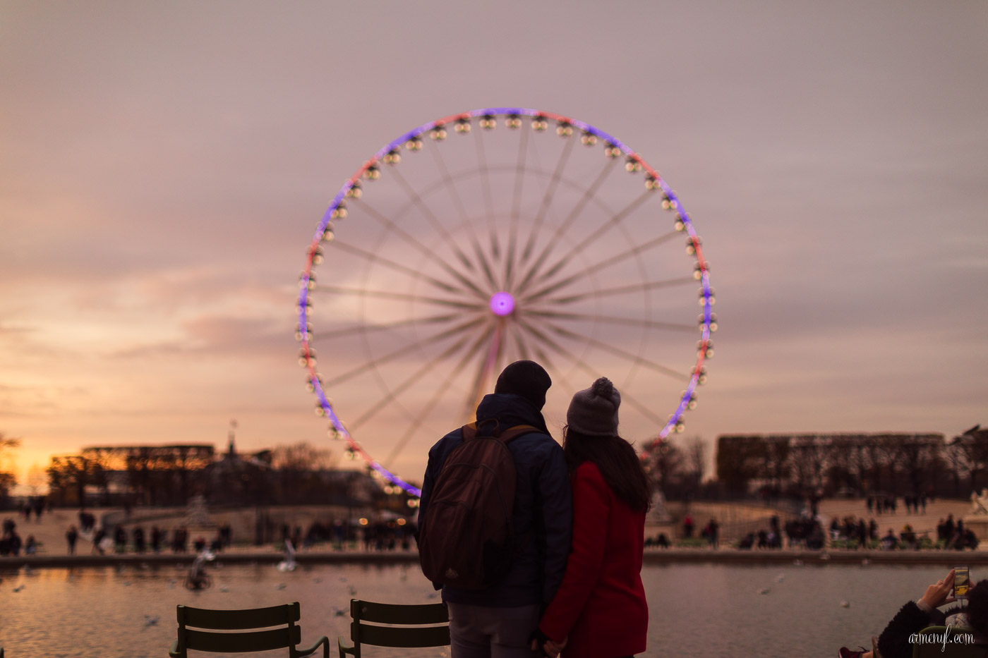 Romantic couple in Paris at Tuileries garden photo by Armenyl